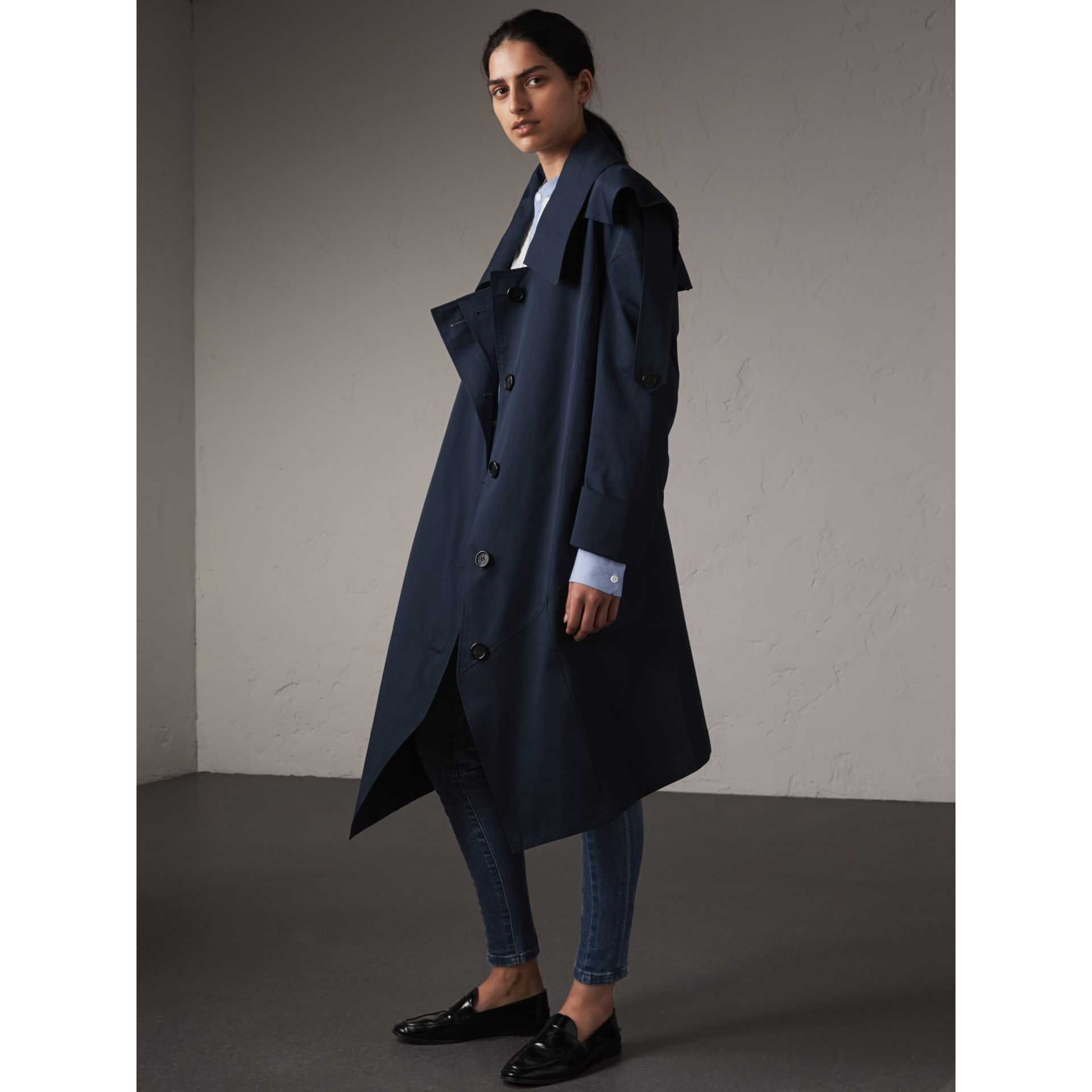 Cotton Asymmetric Trench Coat in Navy - Women | Burberry United States - gallery image 1