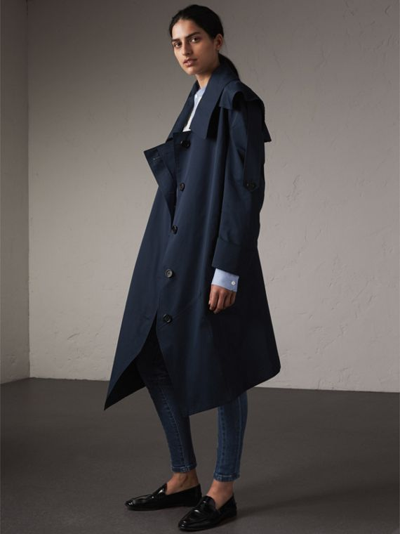 Cotton Asymmetric Trench Coat in Navy - Women | Burberry