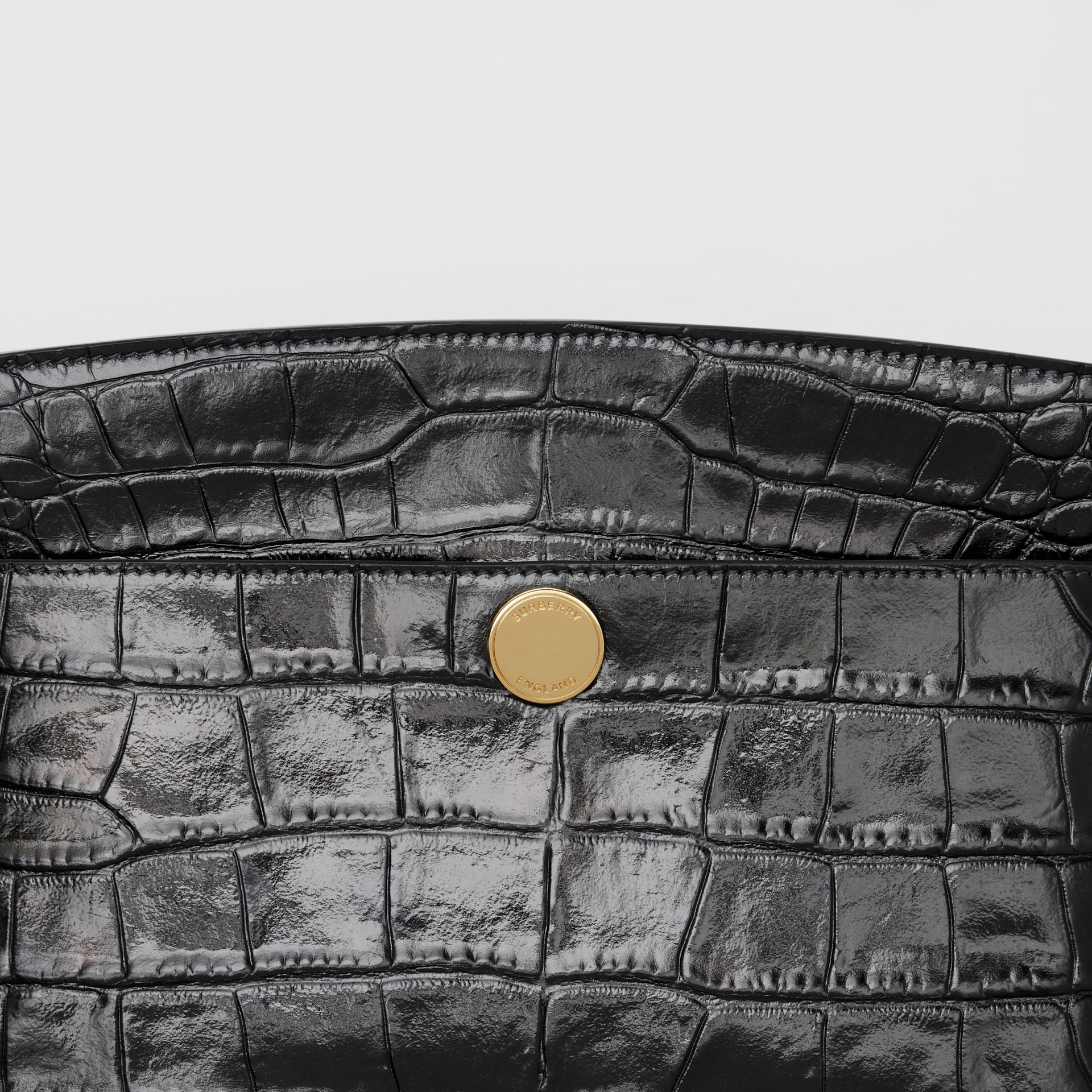 Embossed Leather Society Clutch in Black - Women | Burberry Singapore - gallery image 1