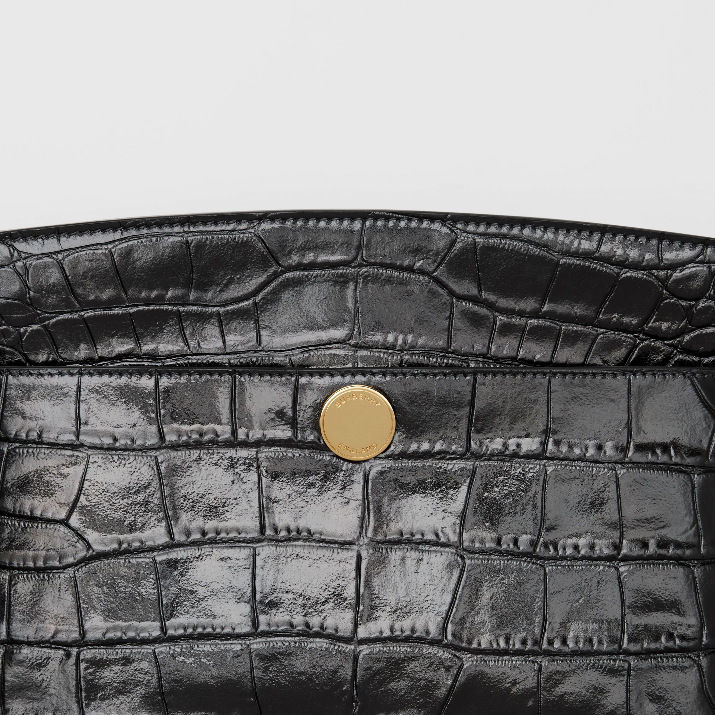 Embossed Leather Society Clutch in Black - Women | Burberry - 2