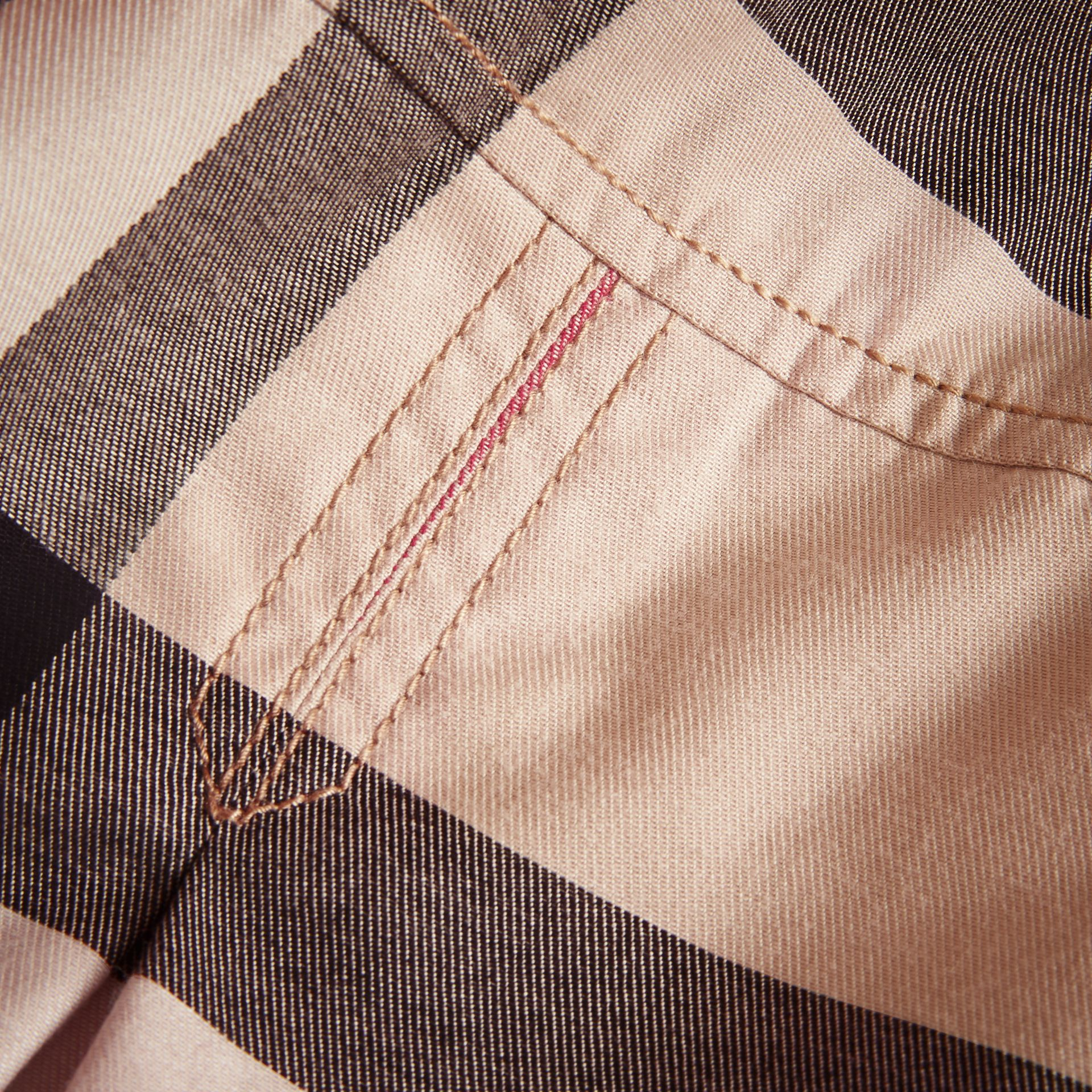 Pleated Check Washed Cotton A-line Dress in Stone - Girl | Burberry Hong Kong - gallery image 2