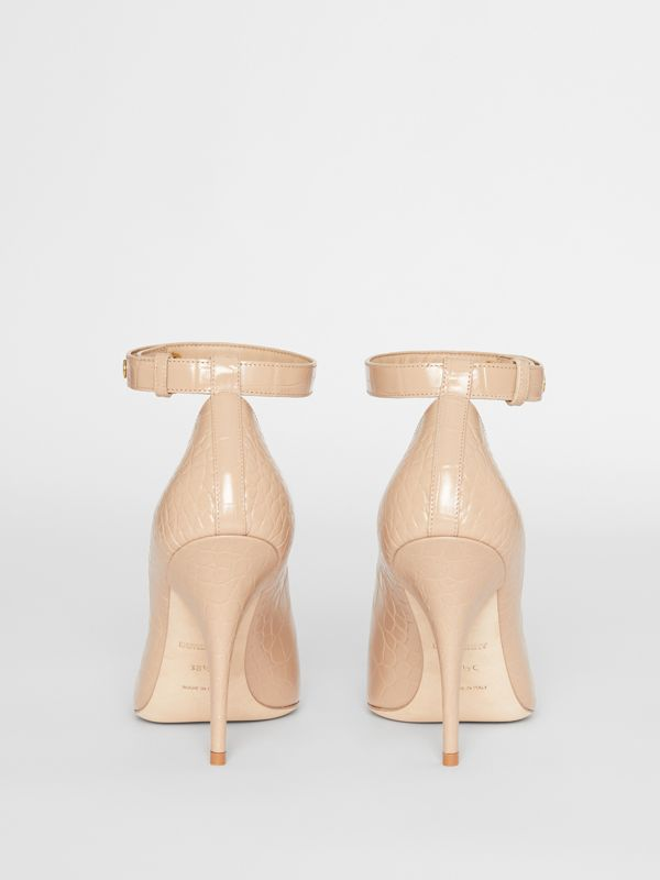 Embossed Leather Peep-toe Pumps in Driftwood - Women | Burberry - cell image 3