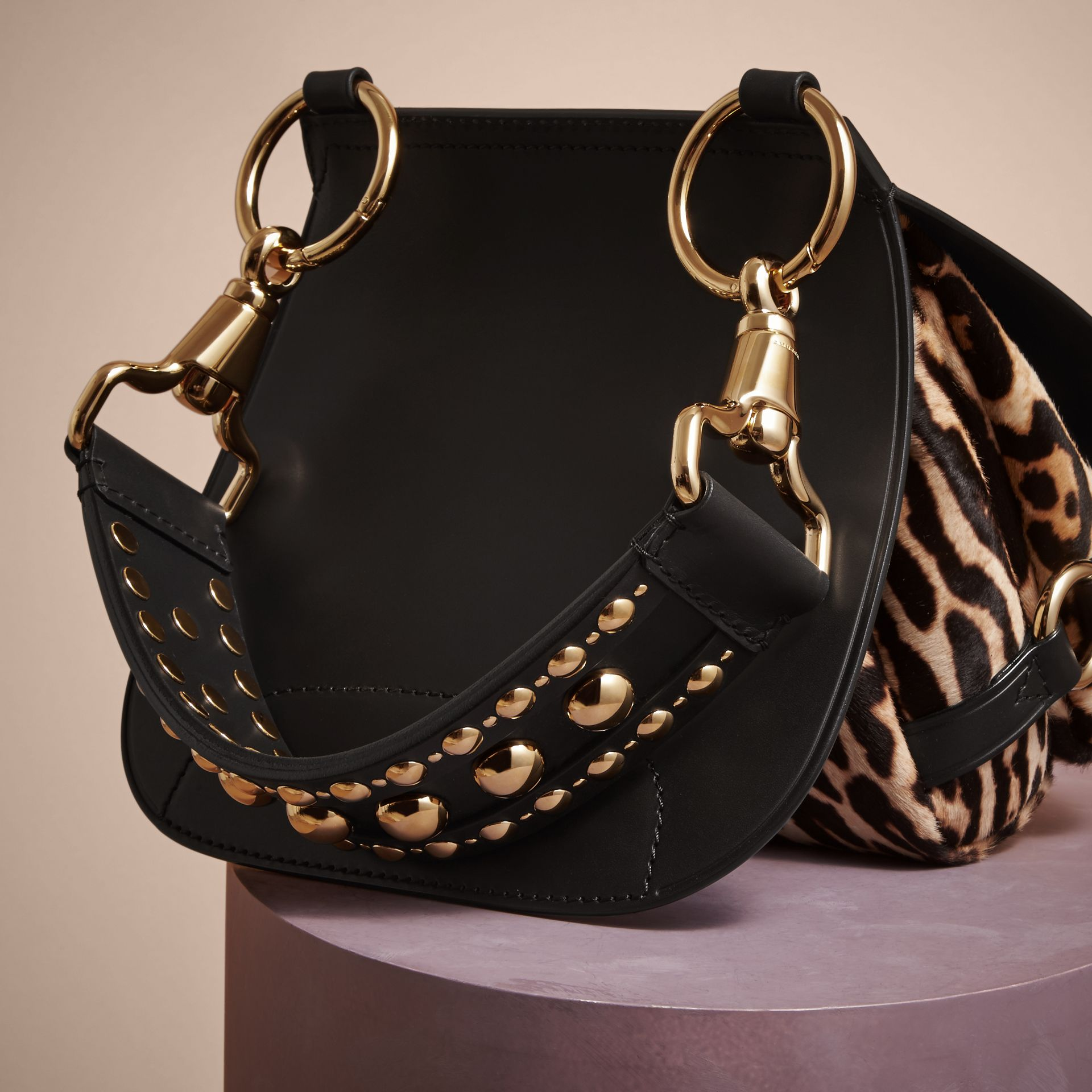 The Bridle Bag in Leather and Calfskin in Black - Women | Burberry United Kingdom - gallery image 5