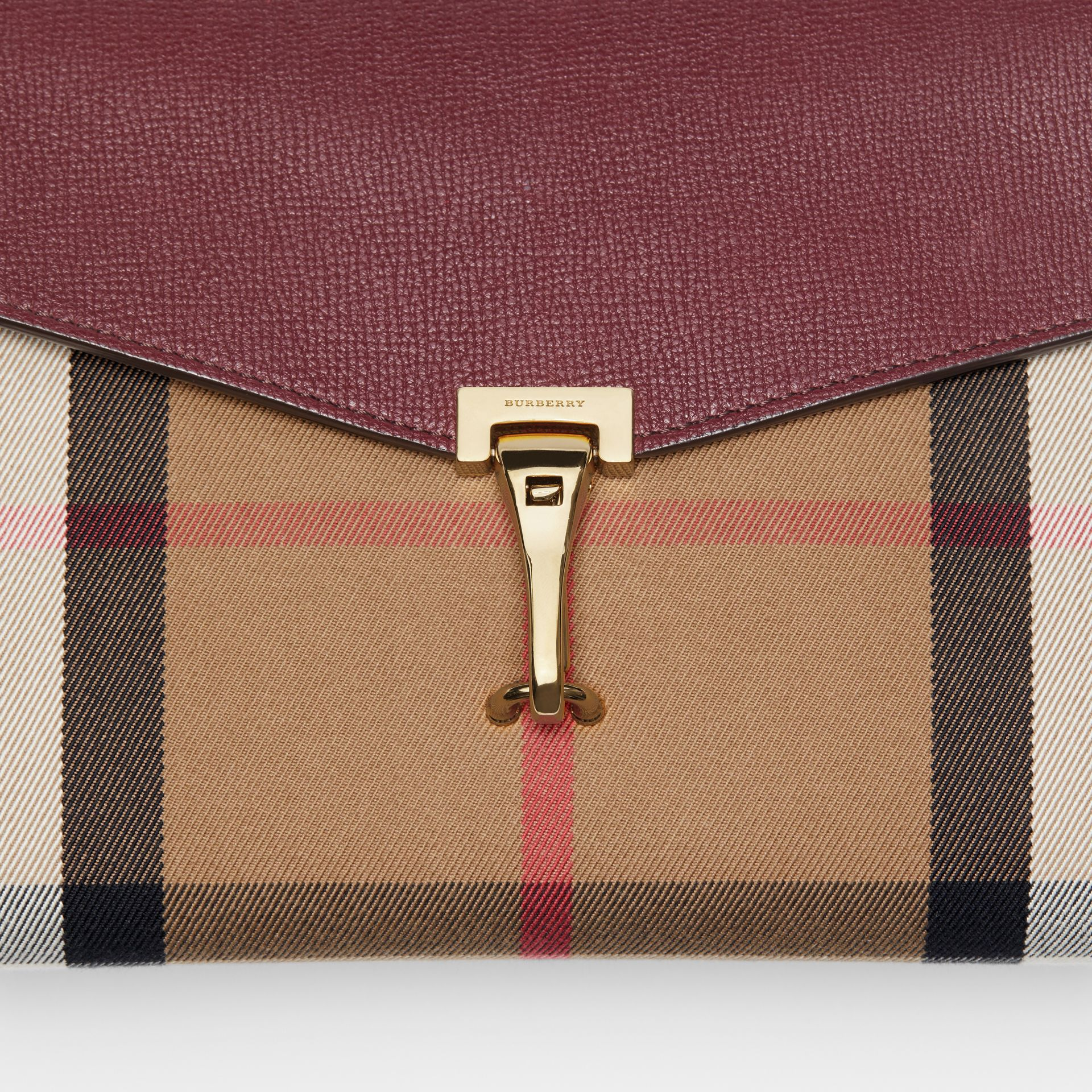 Small Leather and House Check Crossbody Bag in Mahogany Red - Women | Burberry - gallery image 1