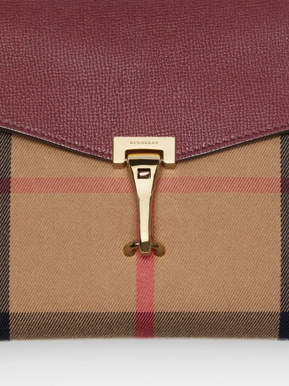 Small Leather and House Check Crossbody Bag in Mahogany Red - Women | Burberry Australia - cell image 1