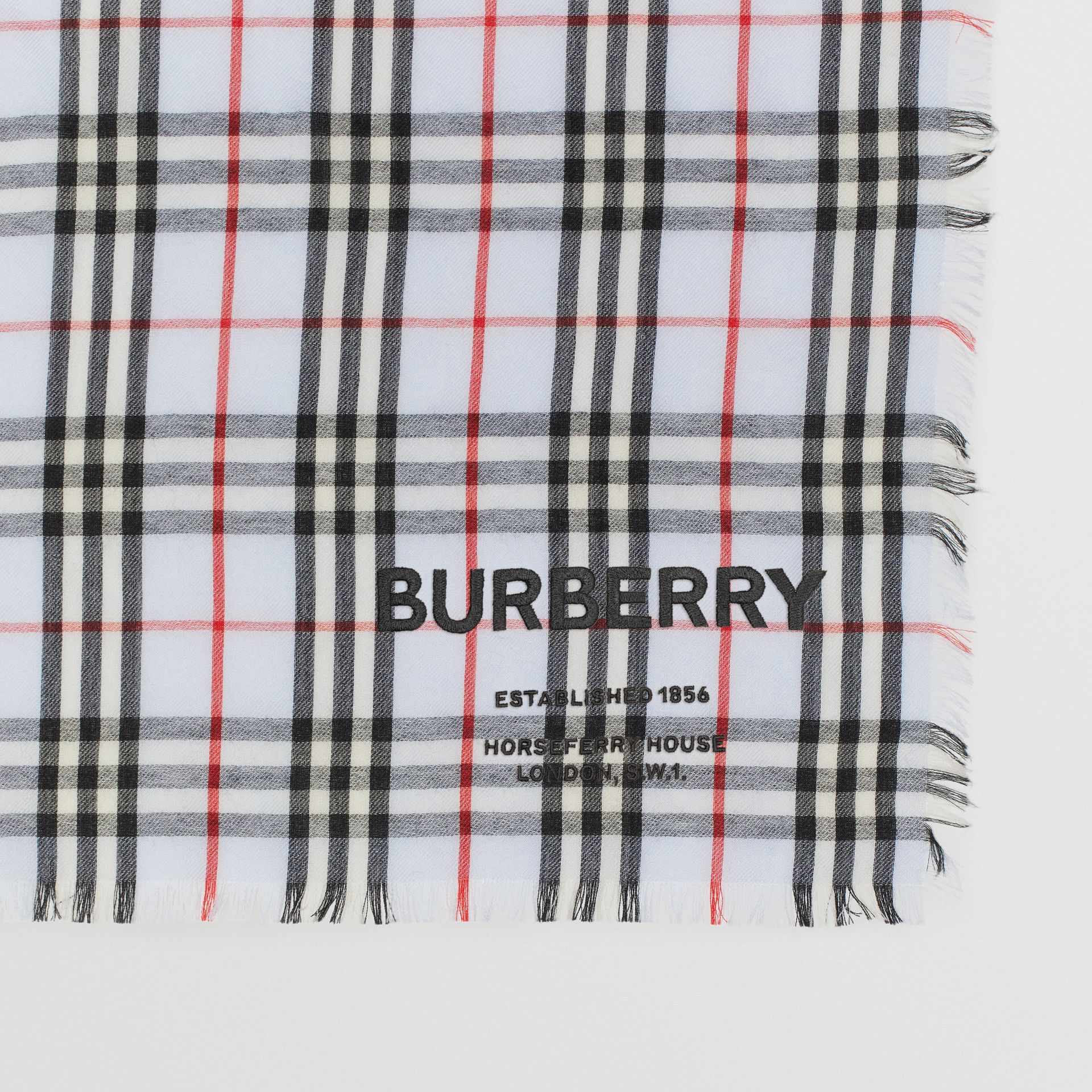 Embroidered Vintage Check Lightweight Cashmere Scarf in Pale Blue | Burberry Singapore - gallery image 1