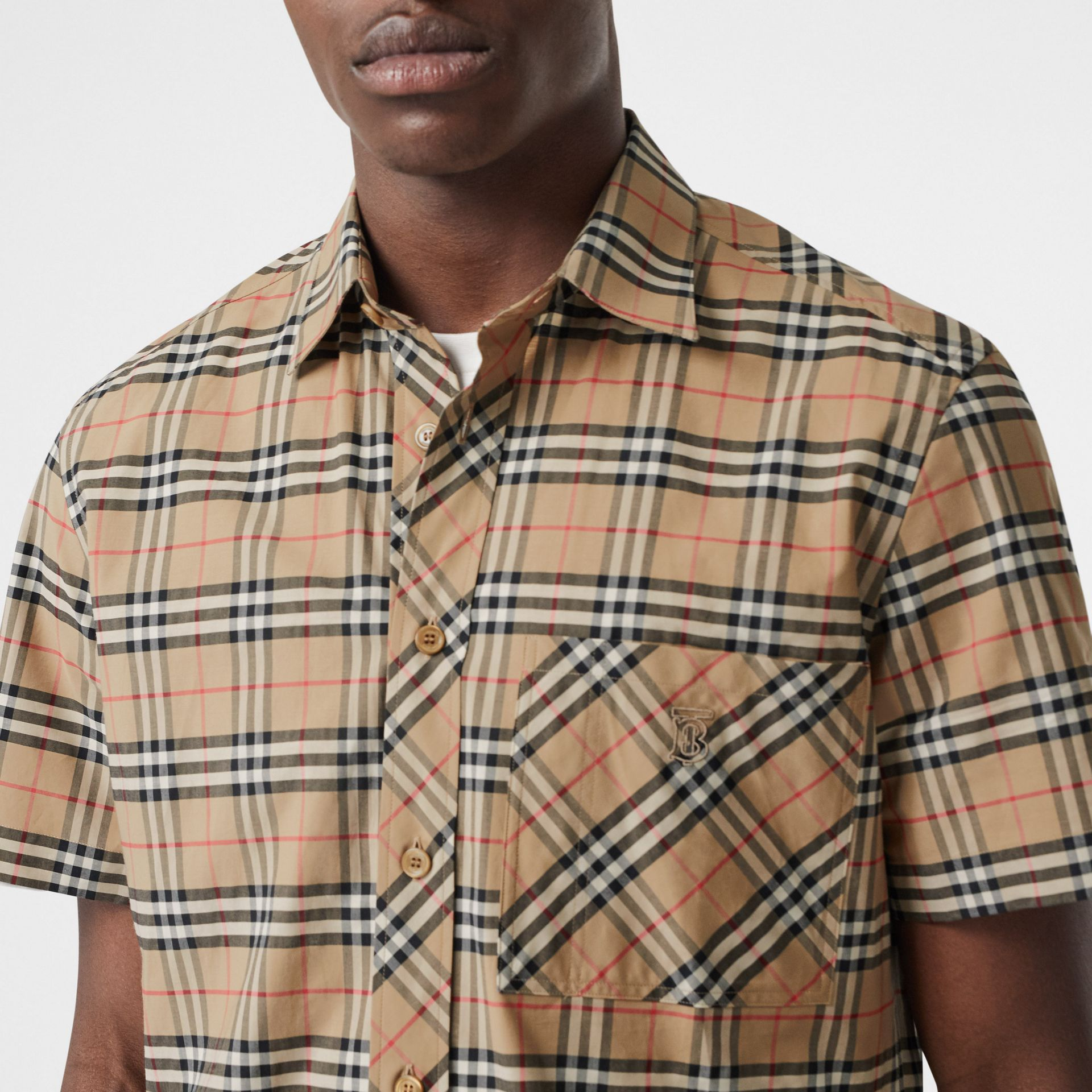 Short-sleeve Small Scale Check Stretch Cotton Shirt in Archive Beige - Men | Burberry Canada - gallery image 1