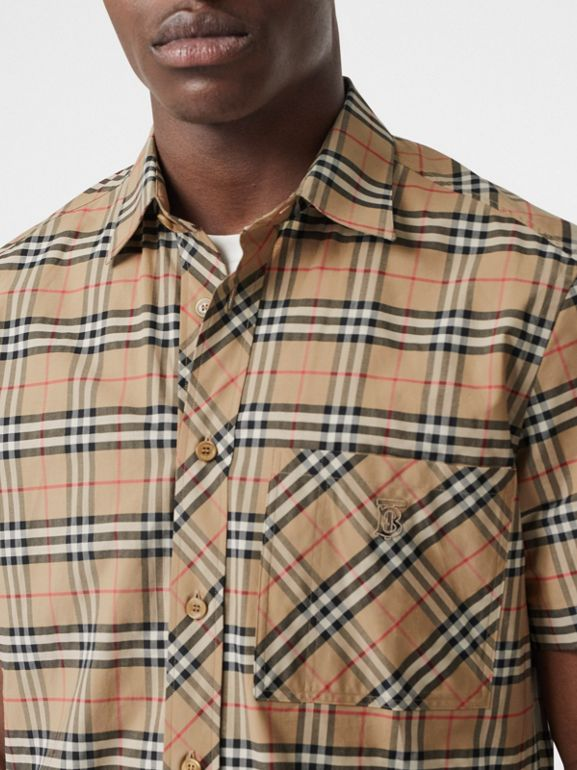 Short-sleeve Small Scale Check Stretch Cotton Shirt in Archive Beige - Men | Burberry Singapore - cell image 1