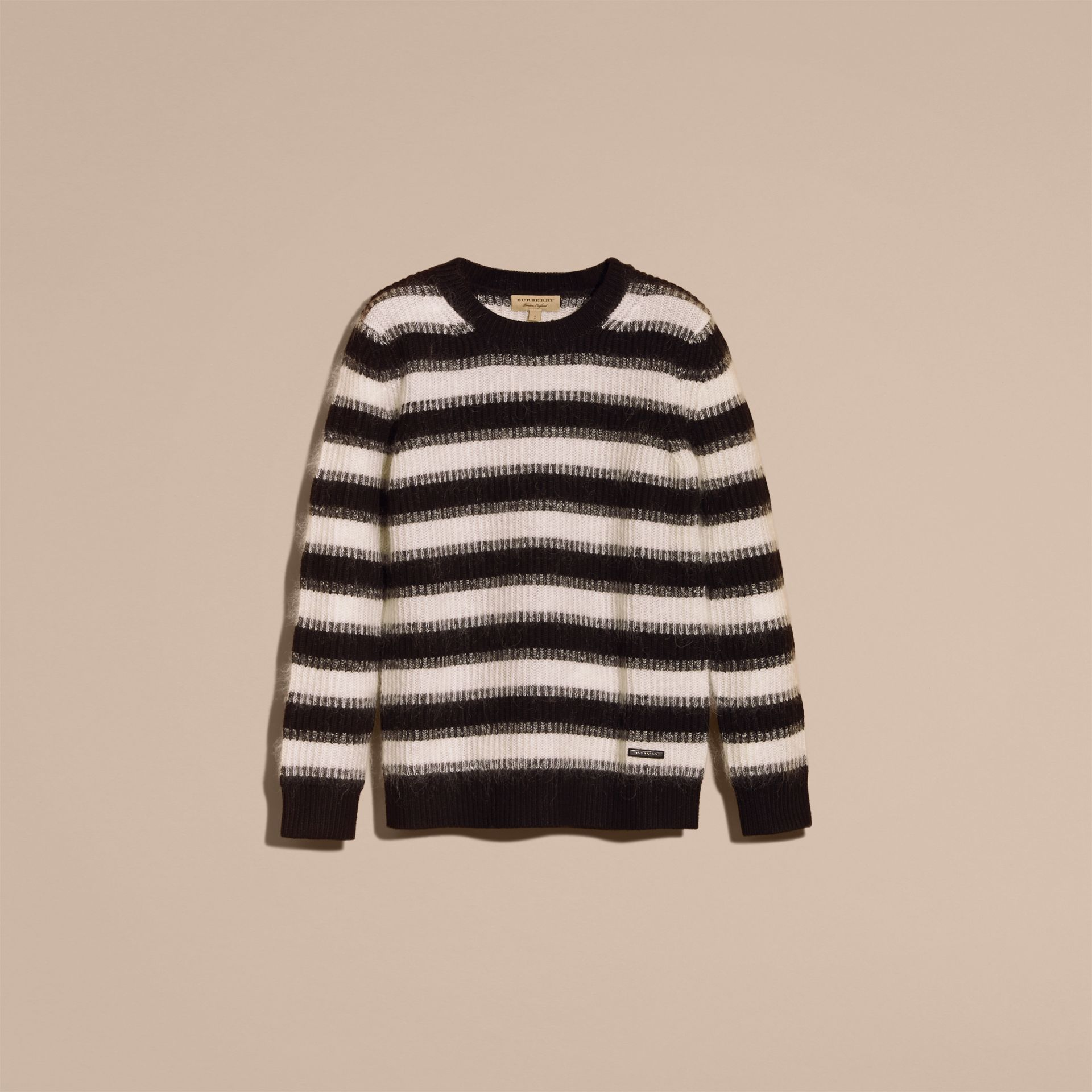 Natural white/black Striped Ribbed Wool Mohair Blend Sweater - gallery image 4