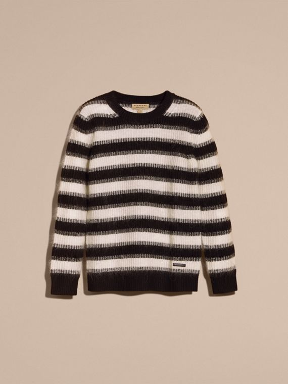 Natural white/black Striped Ribbed Wool Mohair Blend Sweater - cell image 3