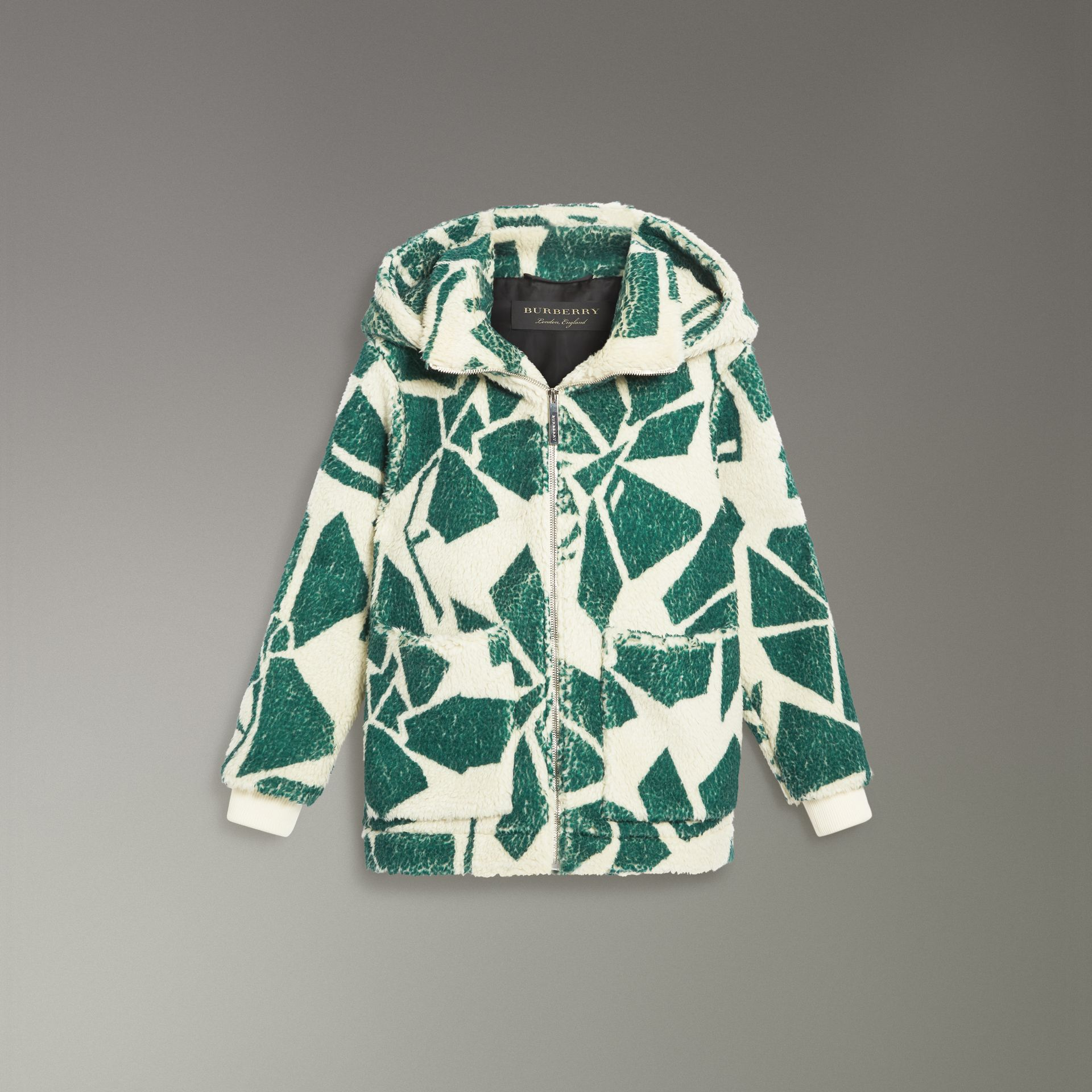 Floral Print Cashmere-silk Fleece Zipped Hoodie in Forest Green - Women | Burberry Australia - gallery image 3