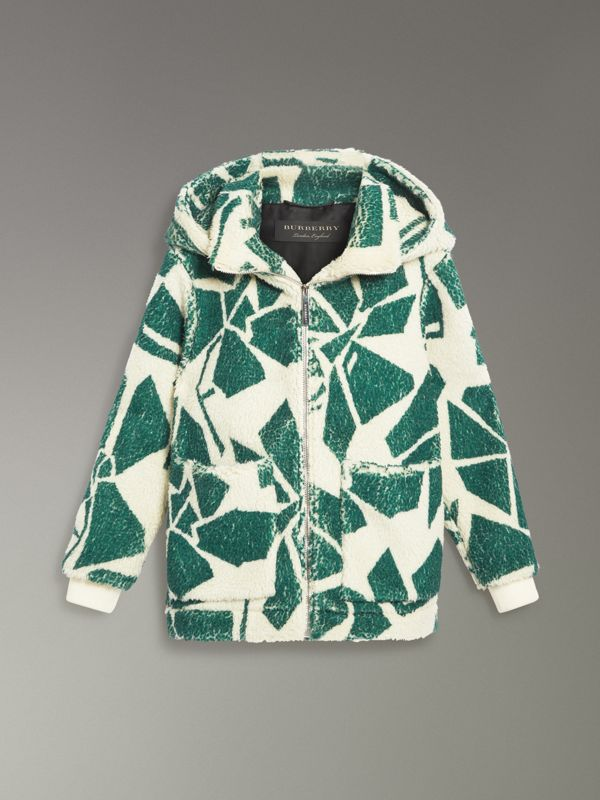 Floral Print Cashmere-silk Fleece Zipped Hoodie in Forest Green - Women | Burberry Canada - cell image 3