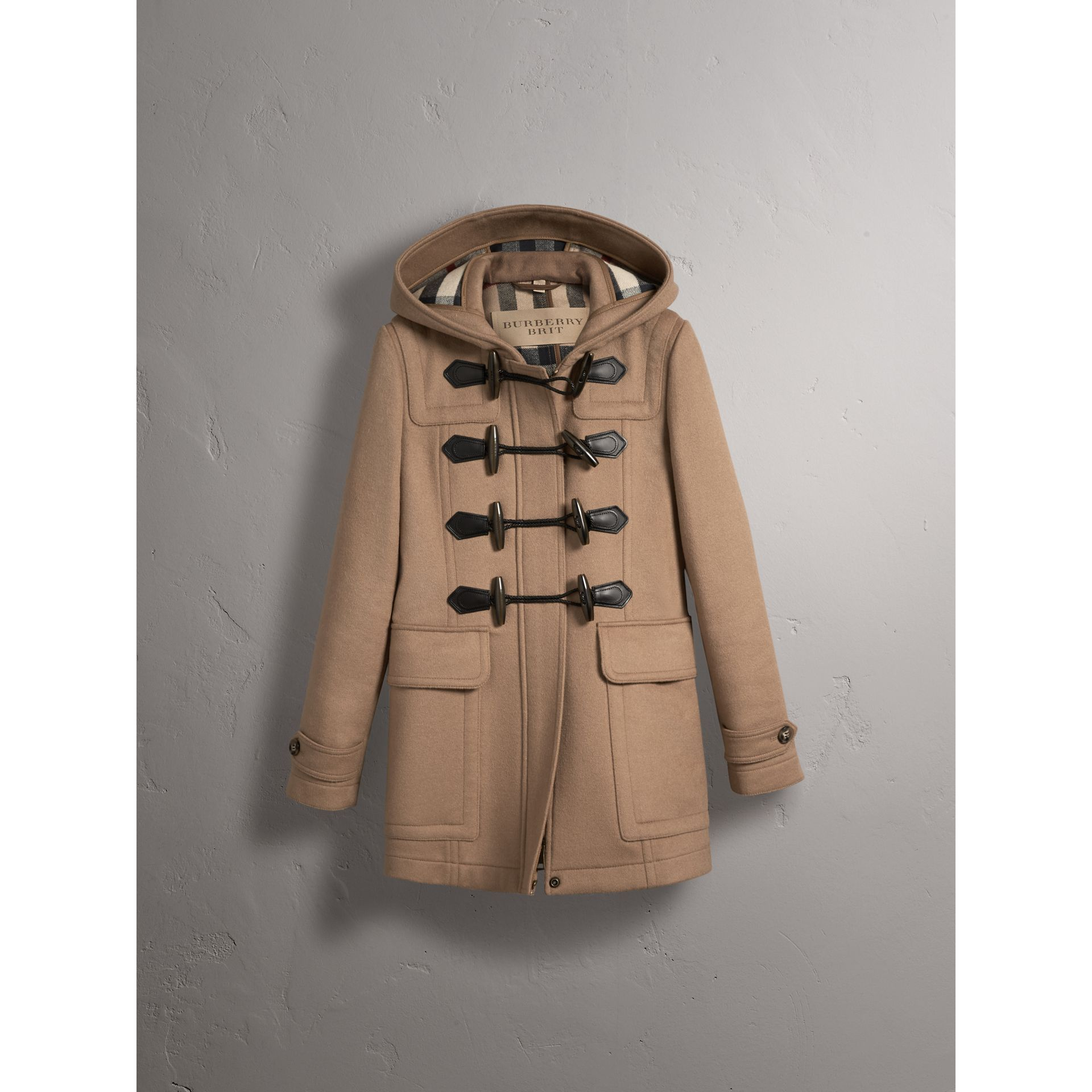 Fitted Wool Duffle Coat in New Camel - Women | Burberry Canada - gallery image 4