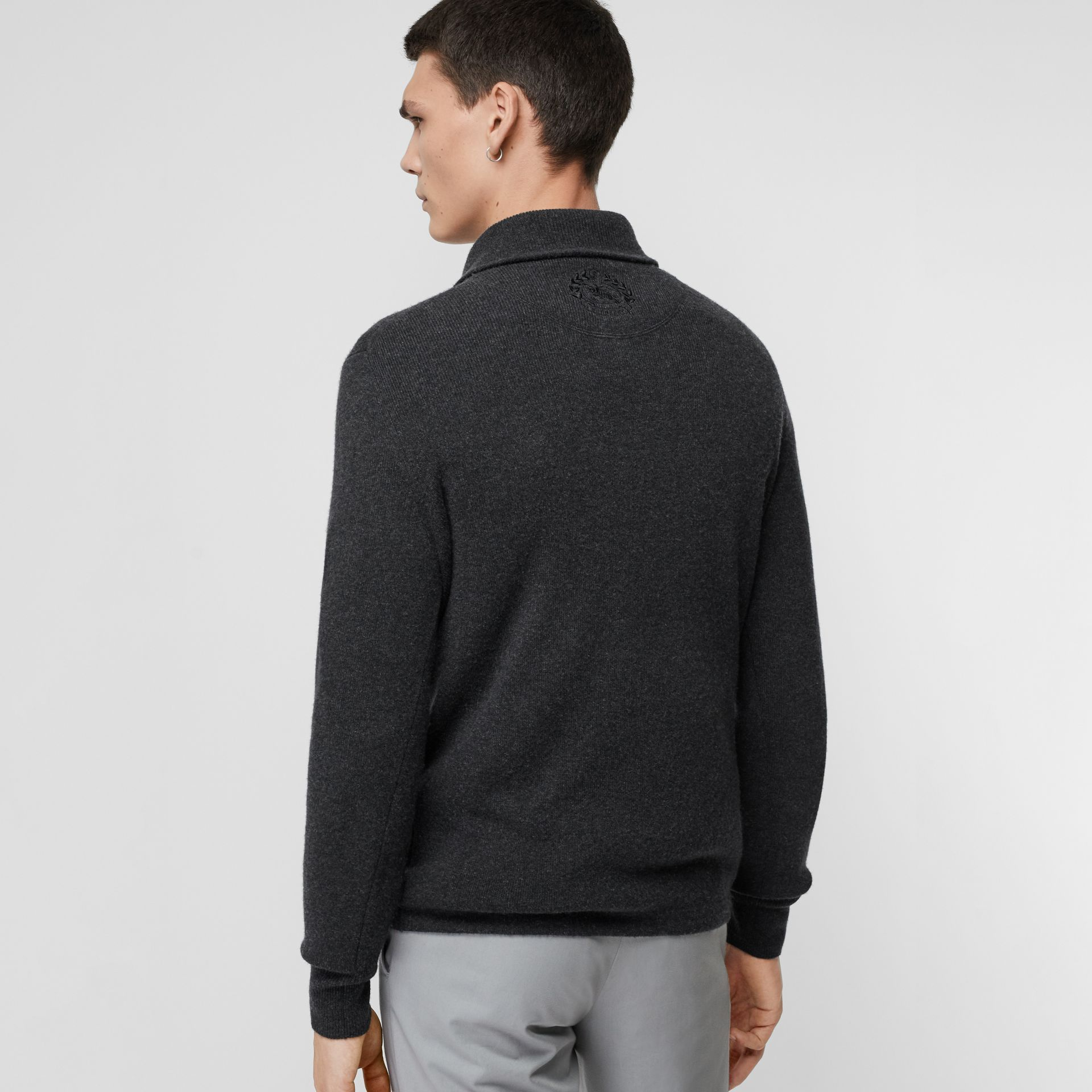 Rib Knit Cashmere Half-zip Sweater in Charcoal Melange - Men | Burberry - gallery image 2