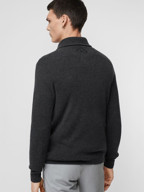 Rib Knit Cashmere Half-zip Sweater in Charcoal Melange - Men | Burberry United Kingdom - cell image 2