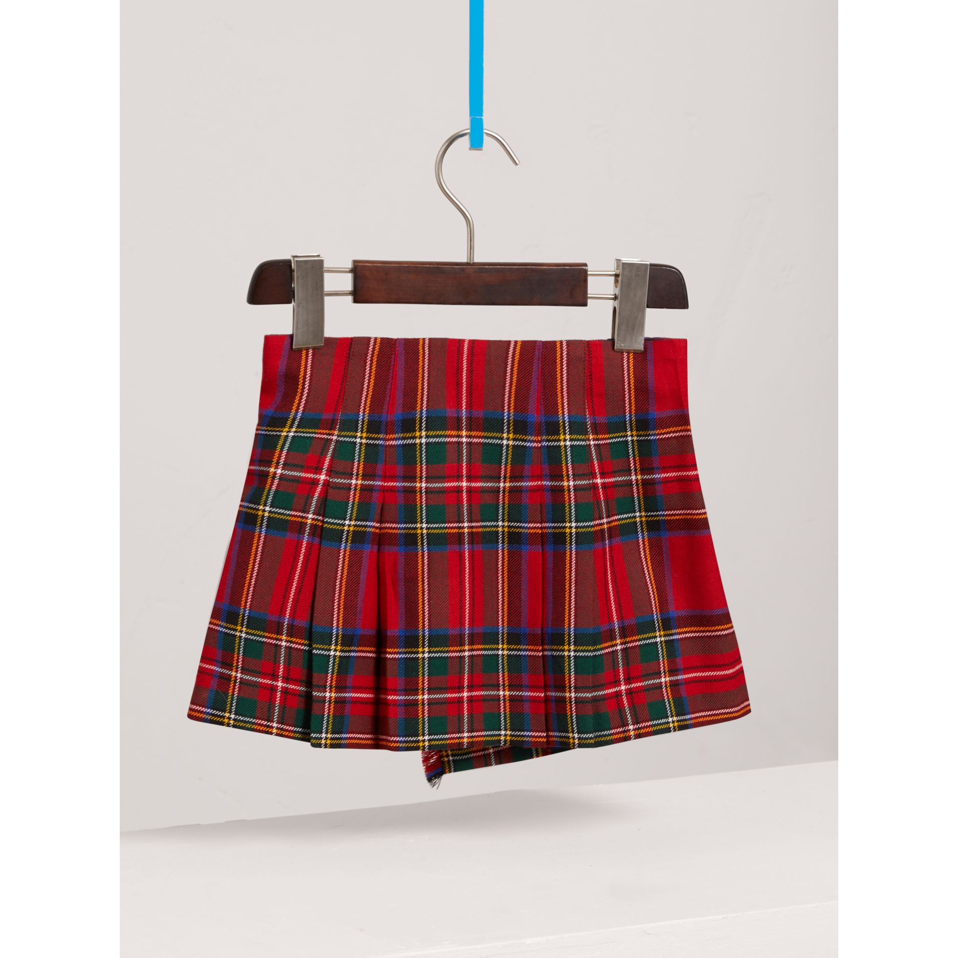 Raw Edge Detail Tartan Wool Kilt in Bright Red - Girl | Burberry - gallery image 3
