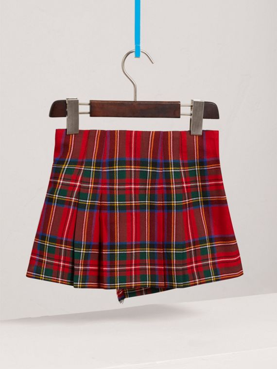Raw Edge Detail Tartan Wool Kilt in Bright Red - Girl | Burberry - cell image 3