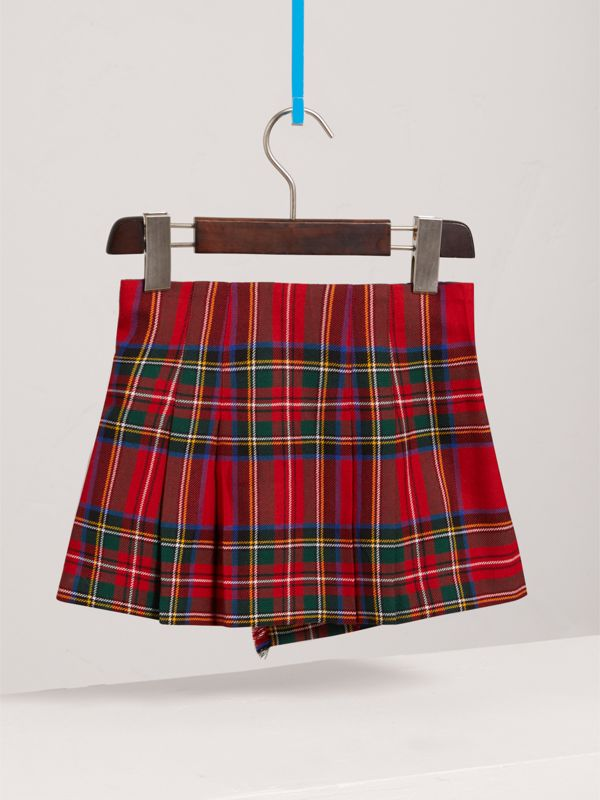 Raw Edge Detail Tartan Wool Kilt in Bright Red - Girl | Burberry United Kingdom - cell image 3