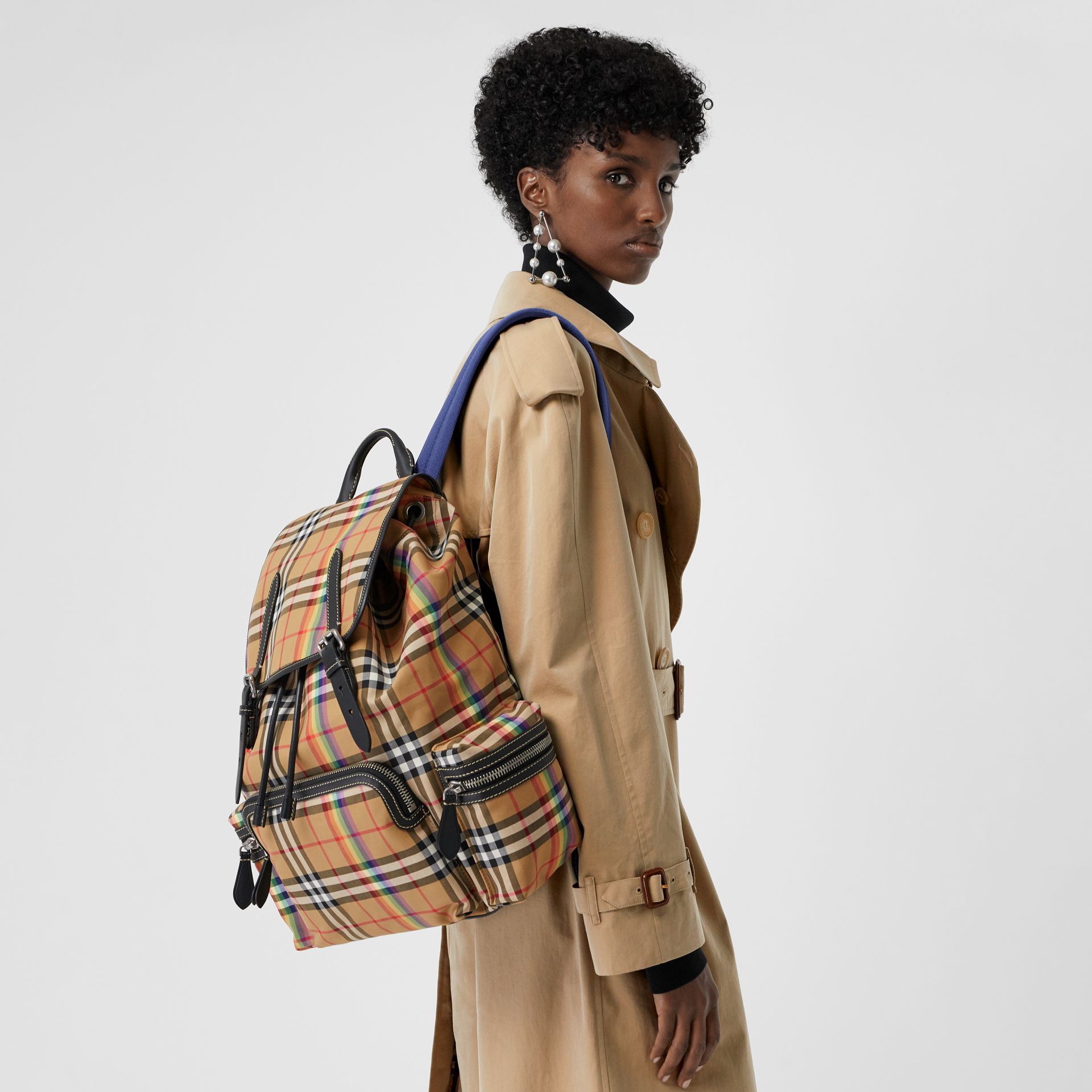 The Large Rucksack in Rainbow Vintage Check in Antique Yellow | Burberry - gallery image 6