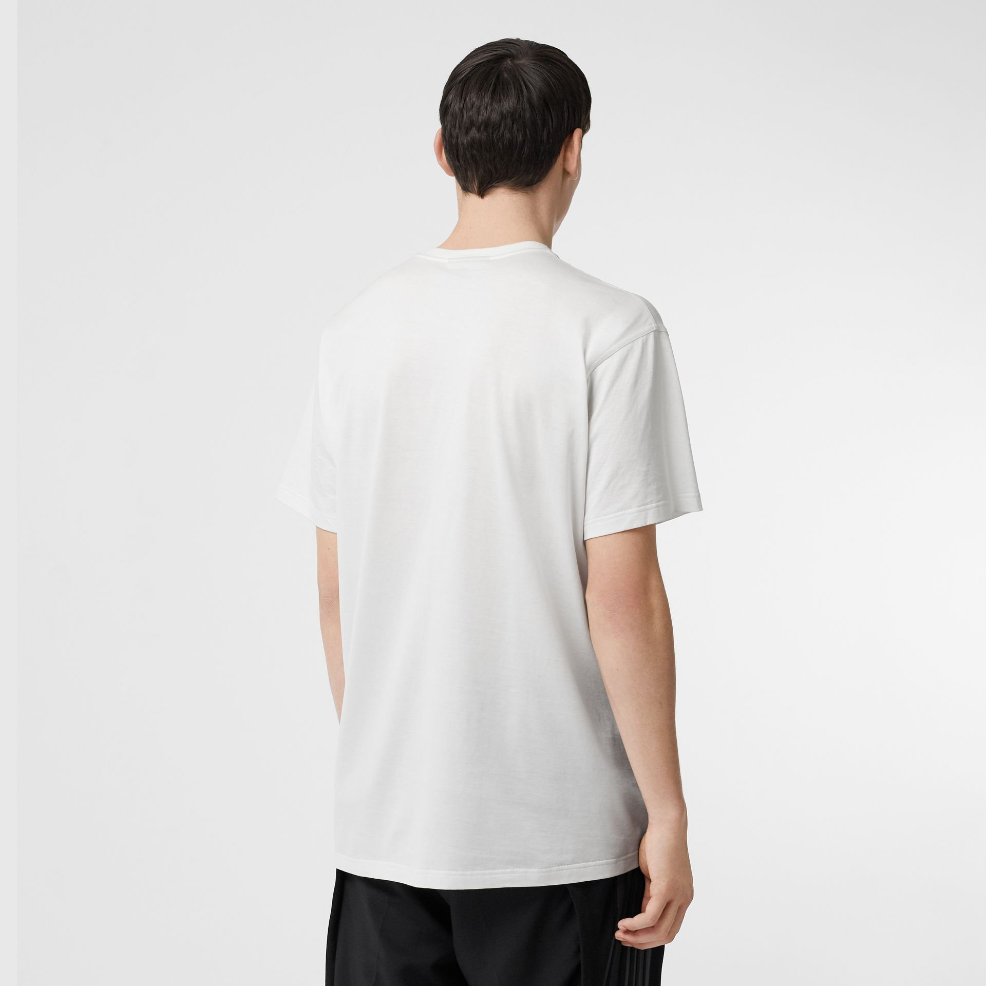 Logo Print Cotton T-shirt in White - Men | Burberry - gallery image 2