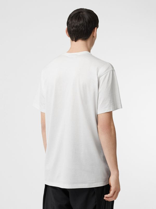 Logo Print Cotton T-shirt in White - Men | Burberry - cell image 2