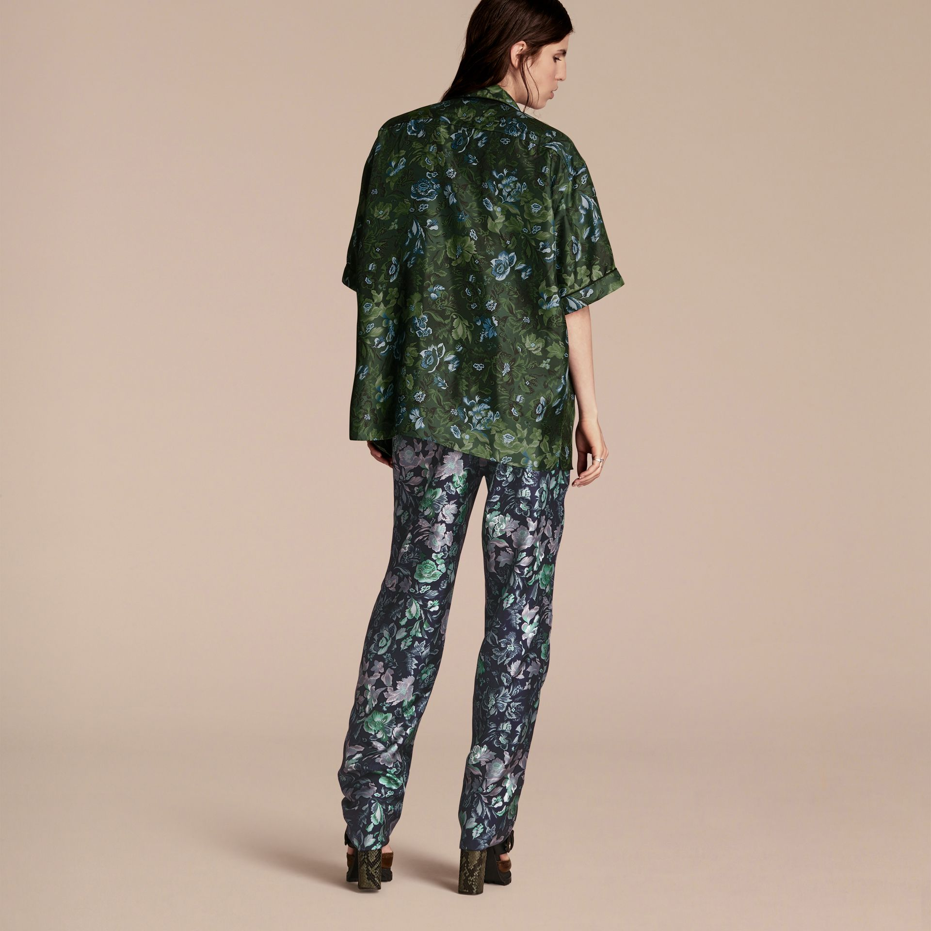 Forest green Short-sleeved Floral Print Silk Pyjama-style Shirt Forest Green - gallery image 3