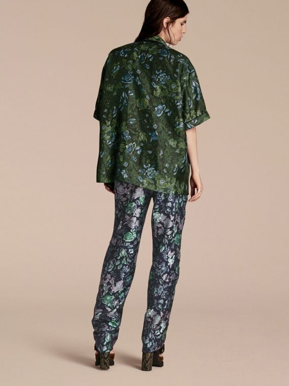 Forest green Short-sleeved Floral Print Silk Pyjama-style Shirt Forest Green - cell image 2