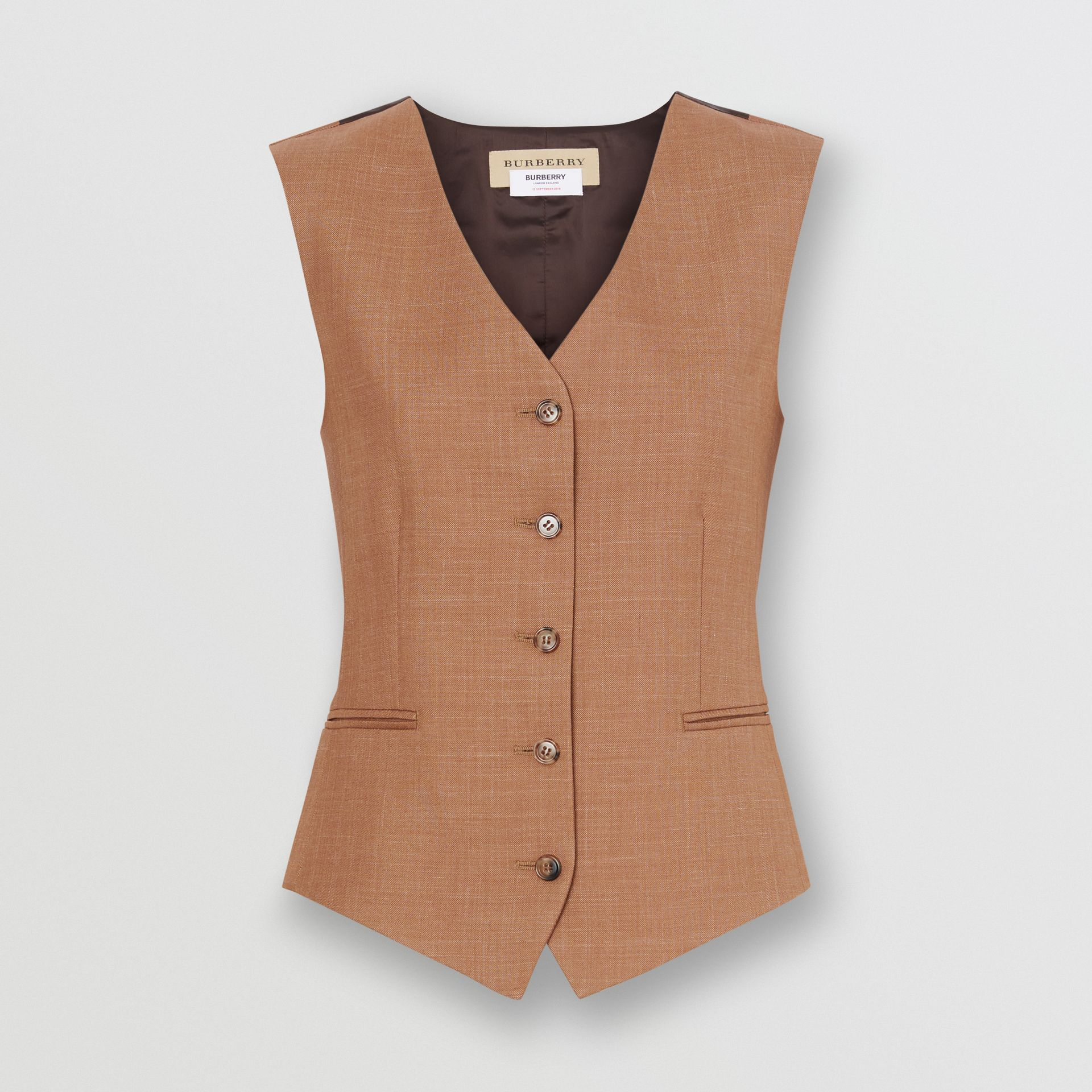 Satin Panel Mohair Wool Blend Tailored Waistcoat in Bronze - Women | Burberry - gallery image 3
