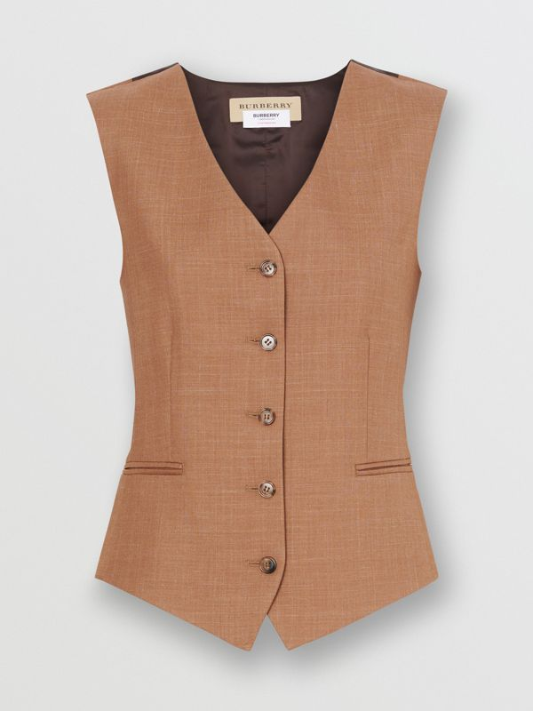 Satin Panel Mohair Wool Blend Tailored Waistcoat in Bronze - Women | Burberry United States - cell image 3