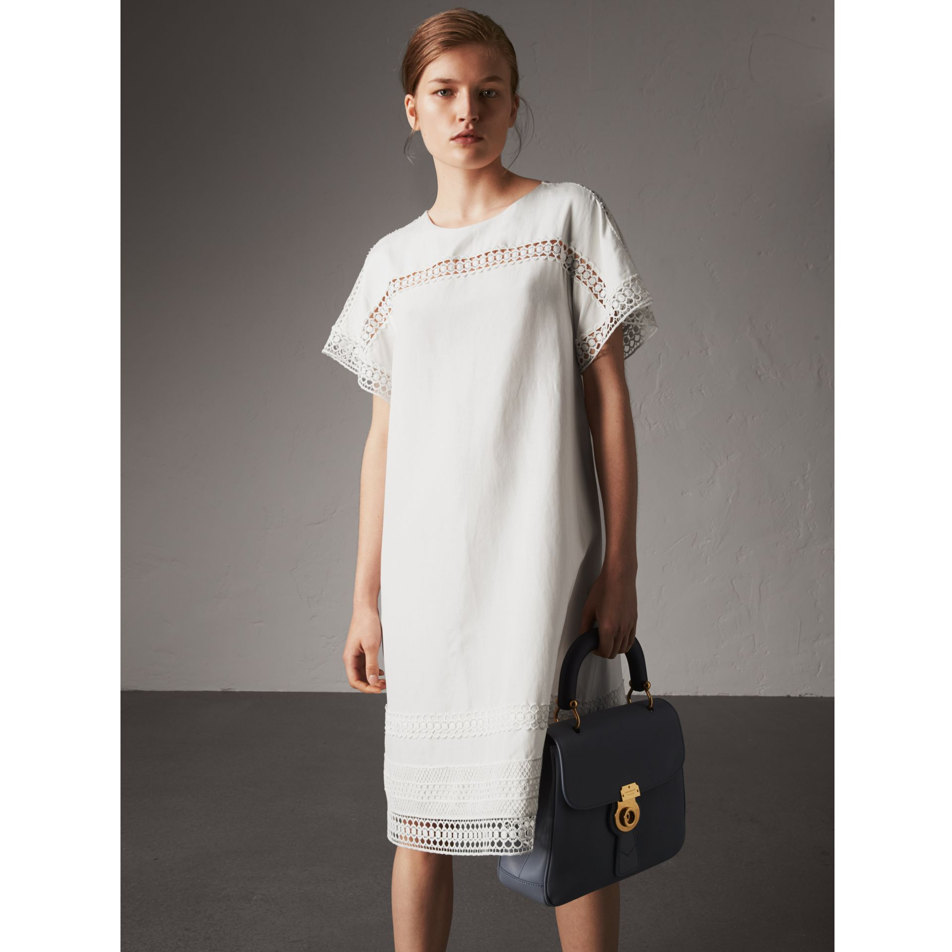 Macramé Lace Detail Silk Linen Cotton Dress - Women | Burberry - gallery image 1