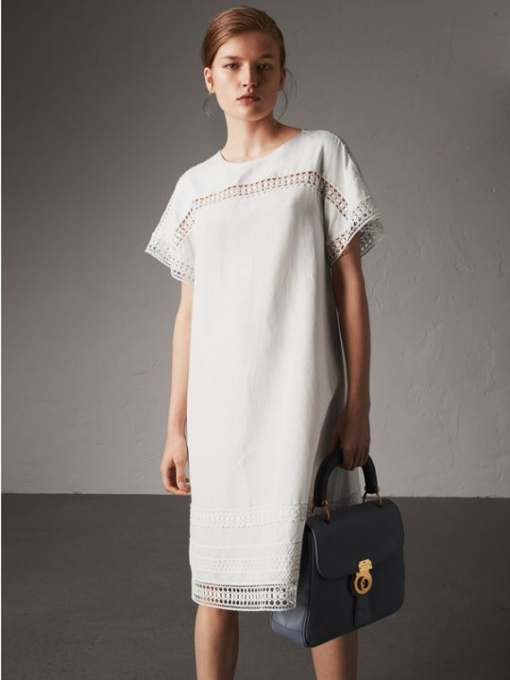 Macramé Lace Detail Silk Linen Cotton Dress - Women | Burberry