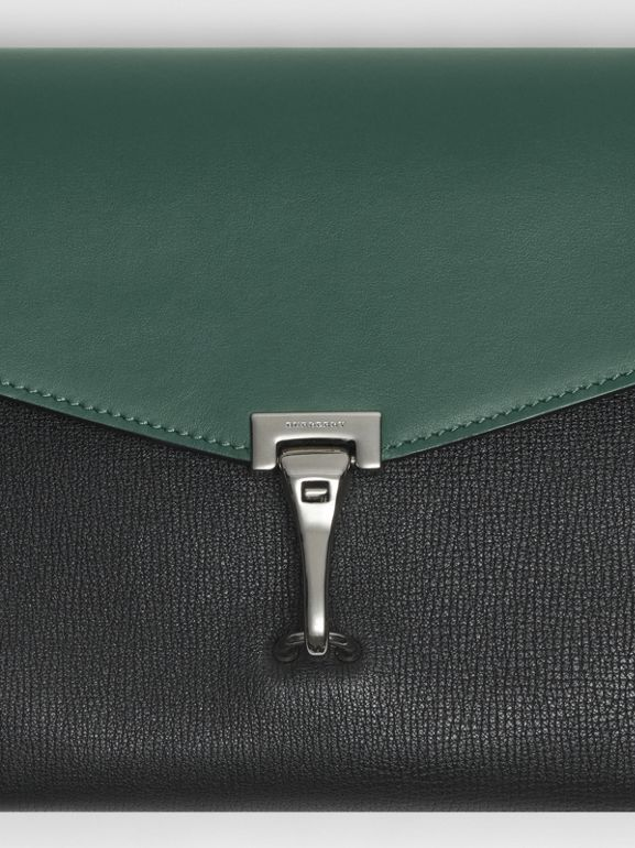 Two-tone Leather Crossbody Bag in Black/sea Green - Women | Burberry United Kingdom - cell image 1