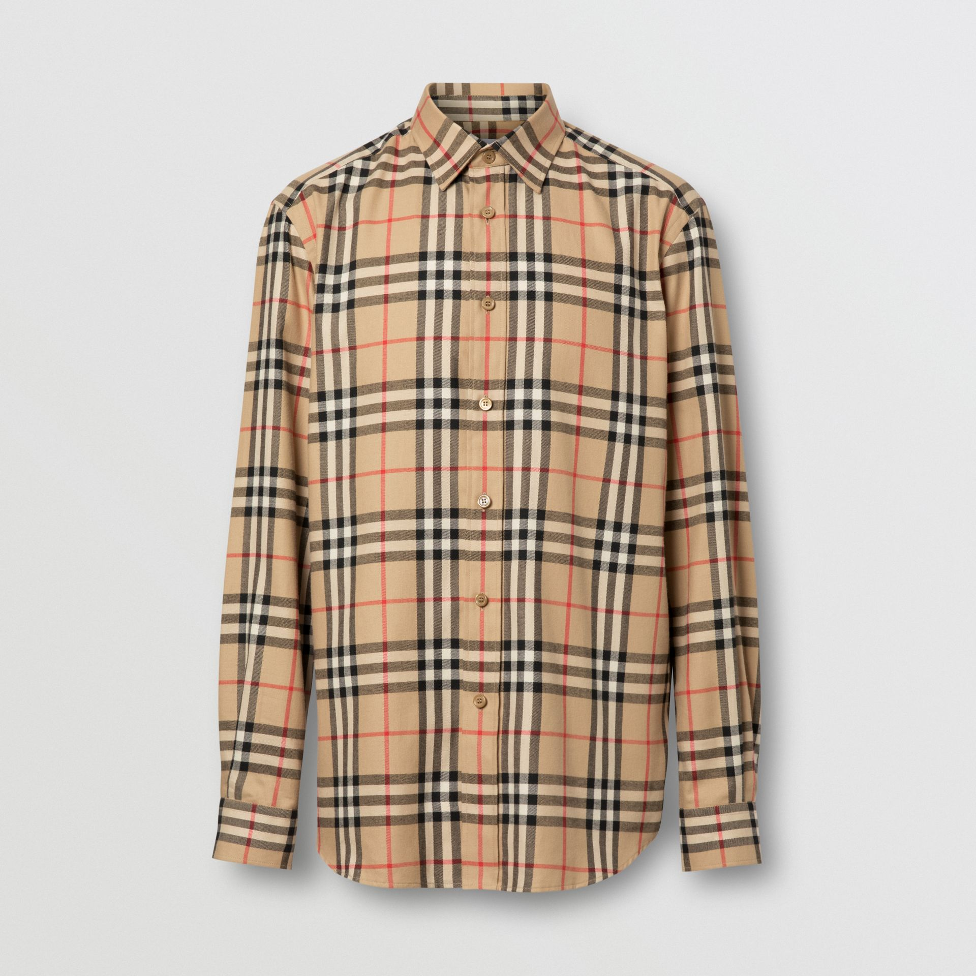 Vintage Check Cotton Flannel Shirt in Archive Beige - Men | Burberry - gallery image 3
