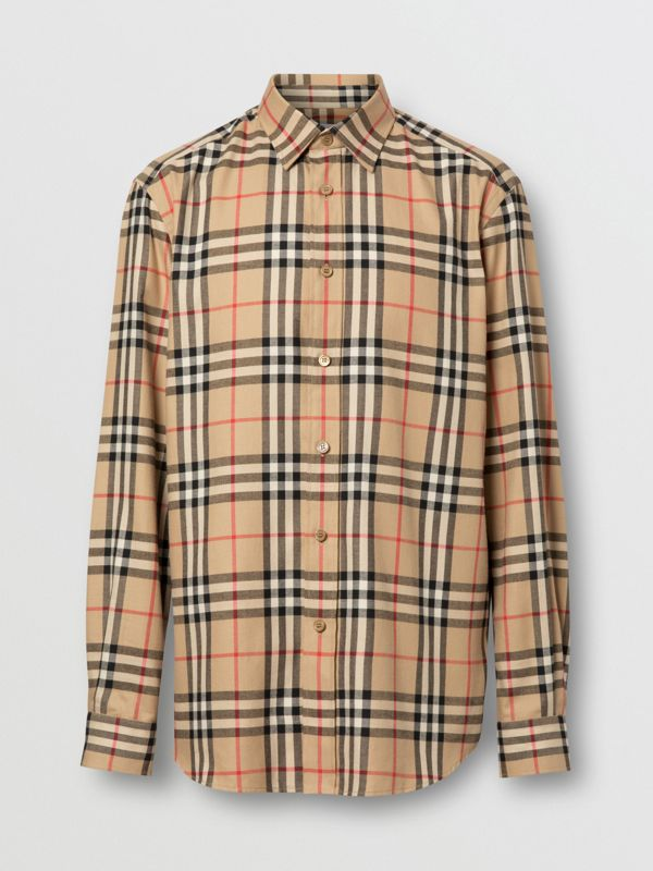 Vintage Check Cotton Flannel Shirt in Archive Beige - Men | Burberry - cell image 3