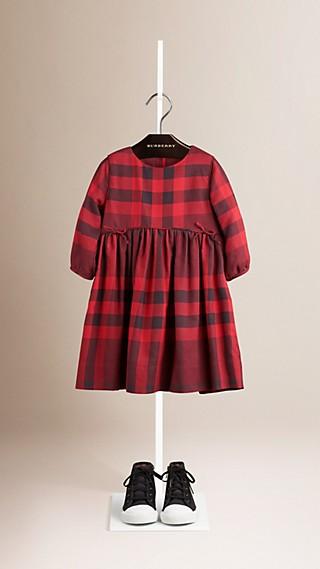 Baumwollkleid mit Check-Muster und Schleifendetail