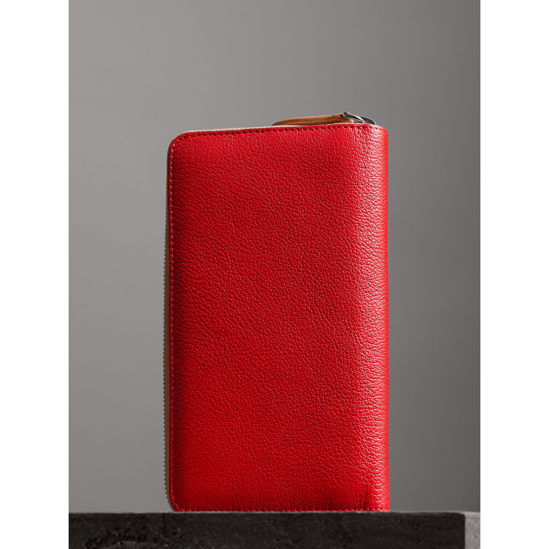 Two-tone Leather Ziparound Wallet in Bright Red - Men | Burberry - gallery image 2