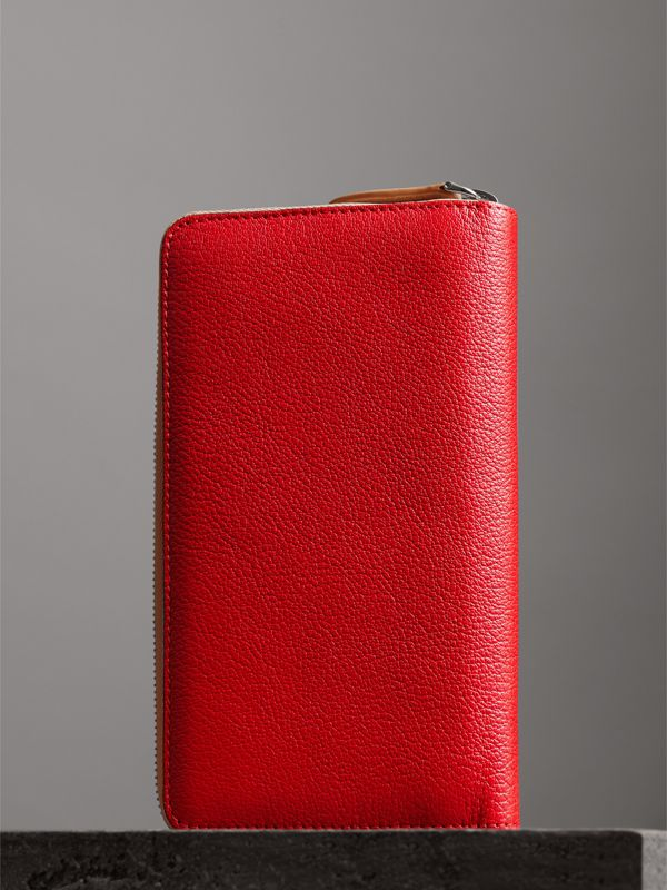 Two-tone Leather Ziparound Wallet in Bright Red - Men | Burberry United Kingdom - cell image 2