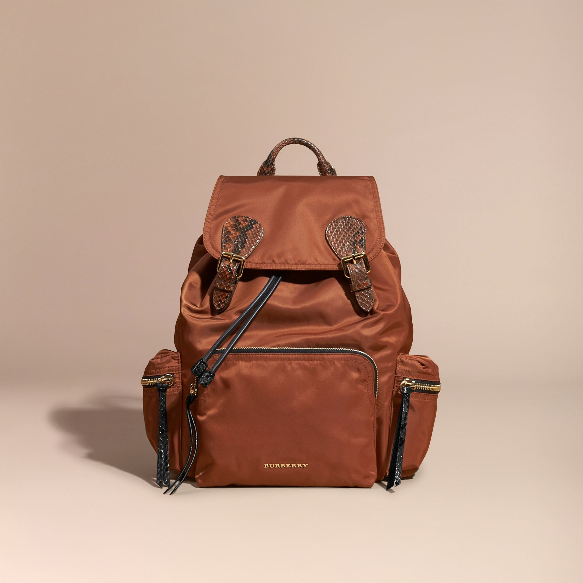 Redwood/tan The Large Rucksack in Technical Nylon and Snakeskin Redwood/tan - gallery image 3
