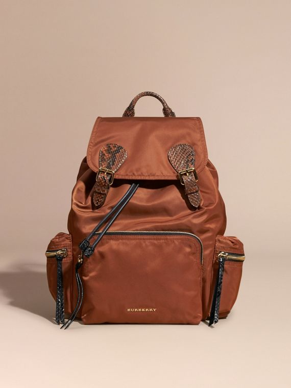 Redwood/tan The Large Rucksack in Technical Nylon and Snakeskin Redwood/tan - cell image 2