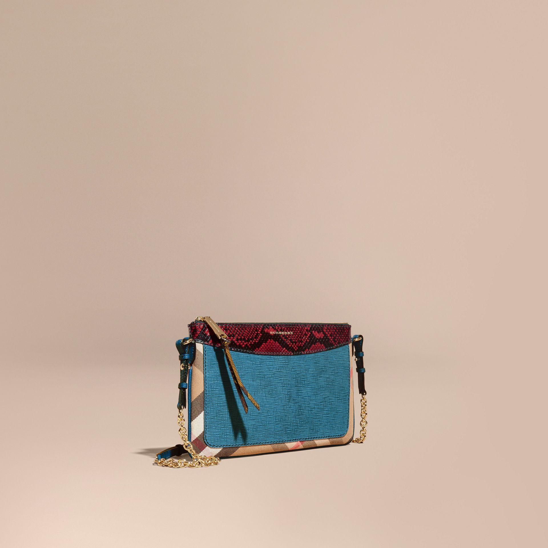 Leather, House Check and Snakeskin Clutch Bag Peacock Blue - gallery image 1