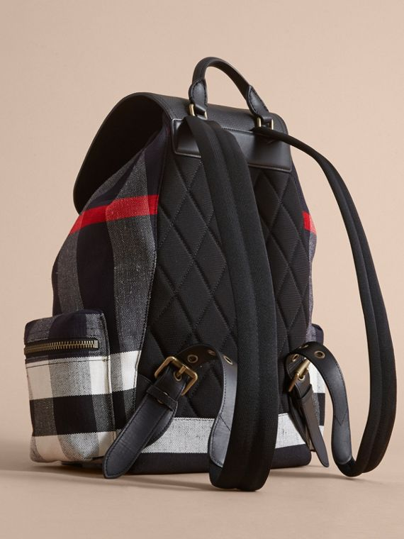 The Large Rucksack in Canvas Check and Leather in Black - Men | Burberry - cell image 3