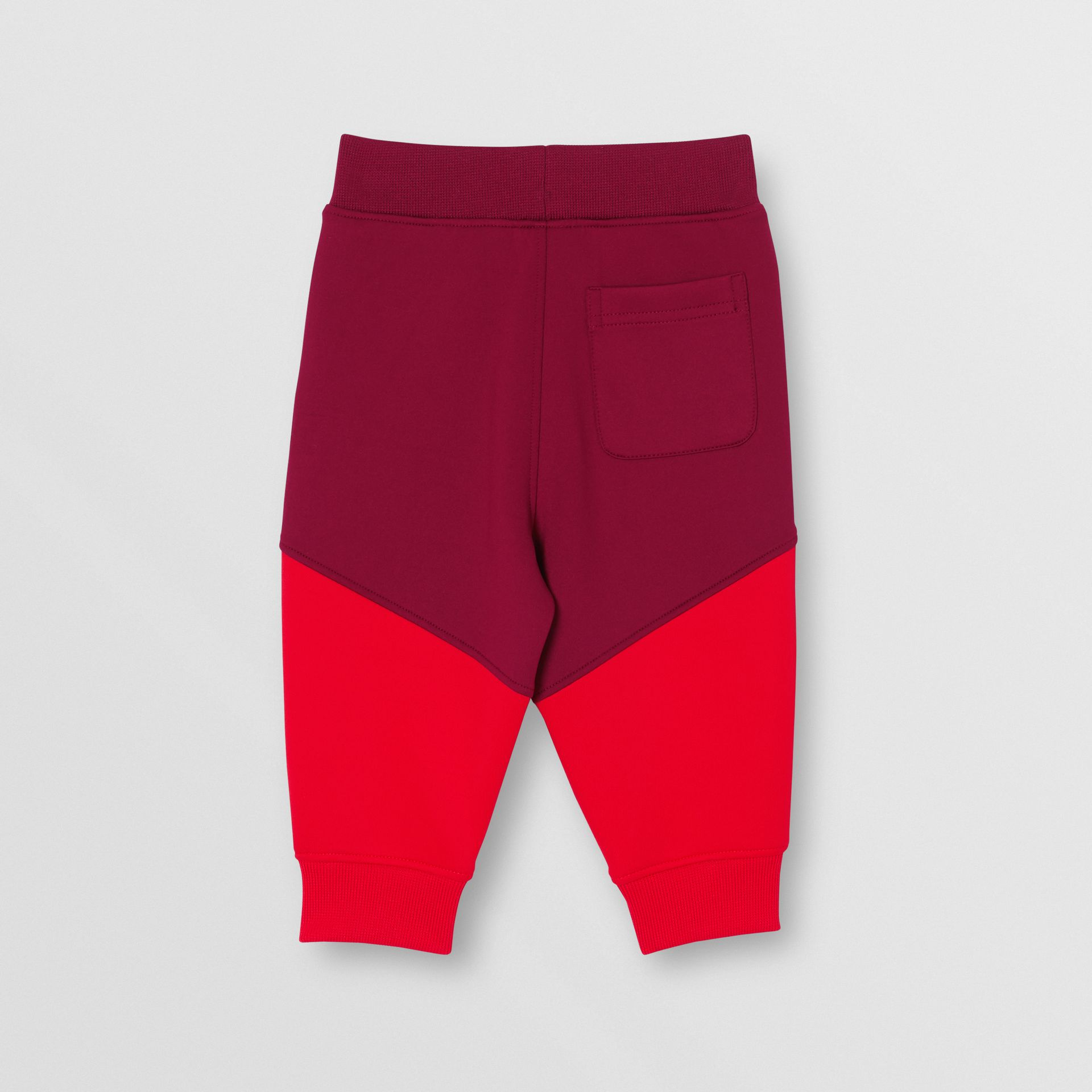 Logo Print Two-tone Stretch Jersey Trackpants in Dark Burgundy - Children | Burberry - gallery image 3