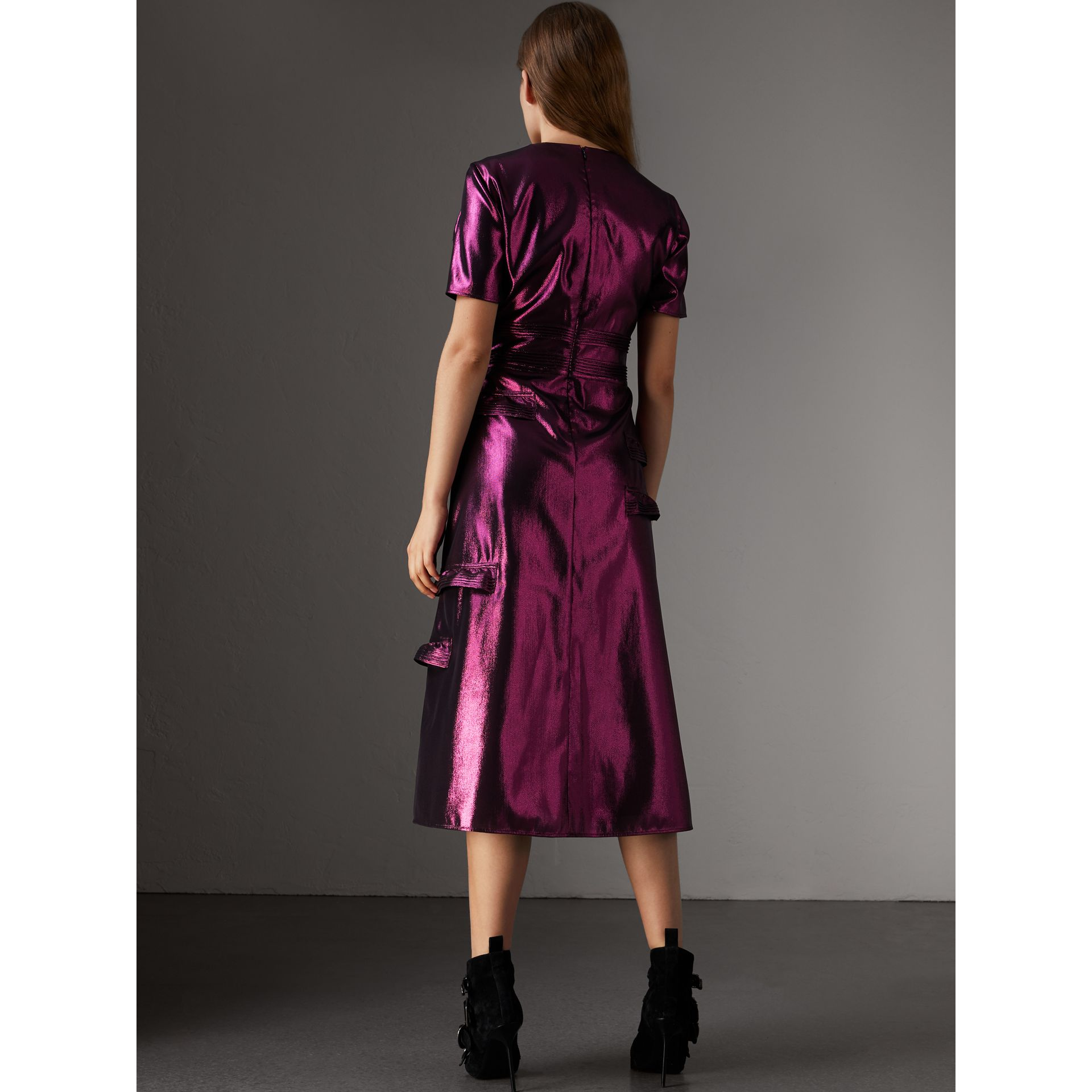 Short-sleeve Ruffle Detail Lamé Dress – Online Exclusive in Bright Fuchsia - Women | Burberry - gallery image 3