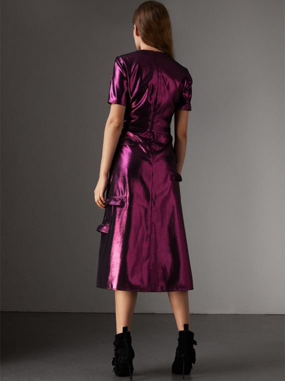 Short-sleeve Ruffle Detail Lamé Dress – Online Exclusive in Bright Fuchsia - Women | Burberry - cell image 2