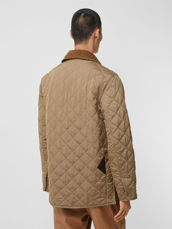 Diamond Quilted Thermoregulated Barn Jacket in Pale Granite - Men | Burberry - cell image 2