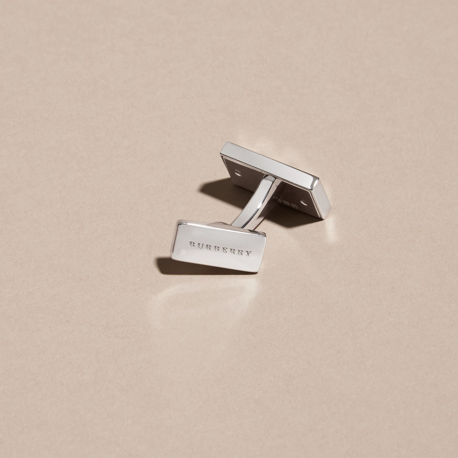Check-Engraved Sterling Silver Cufflinks - Men | Burberry Australia - gallery image 3