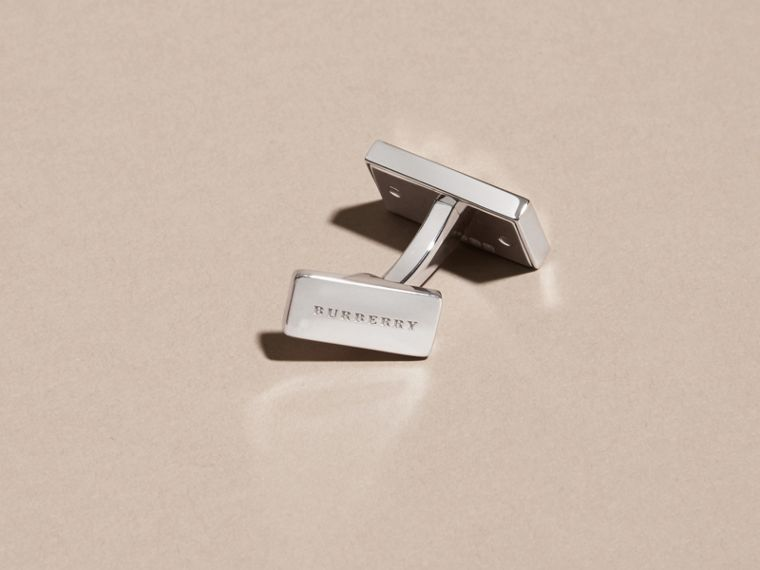 Check-Engraved Sterling Silver Cufflinks - Men | Burberry Australia - cell image 2