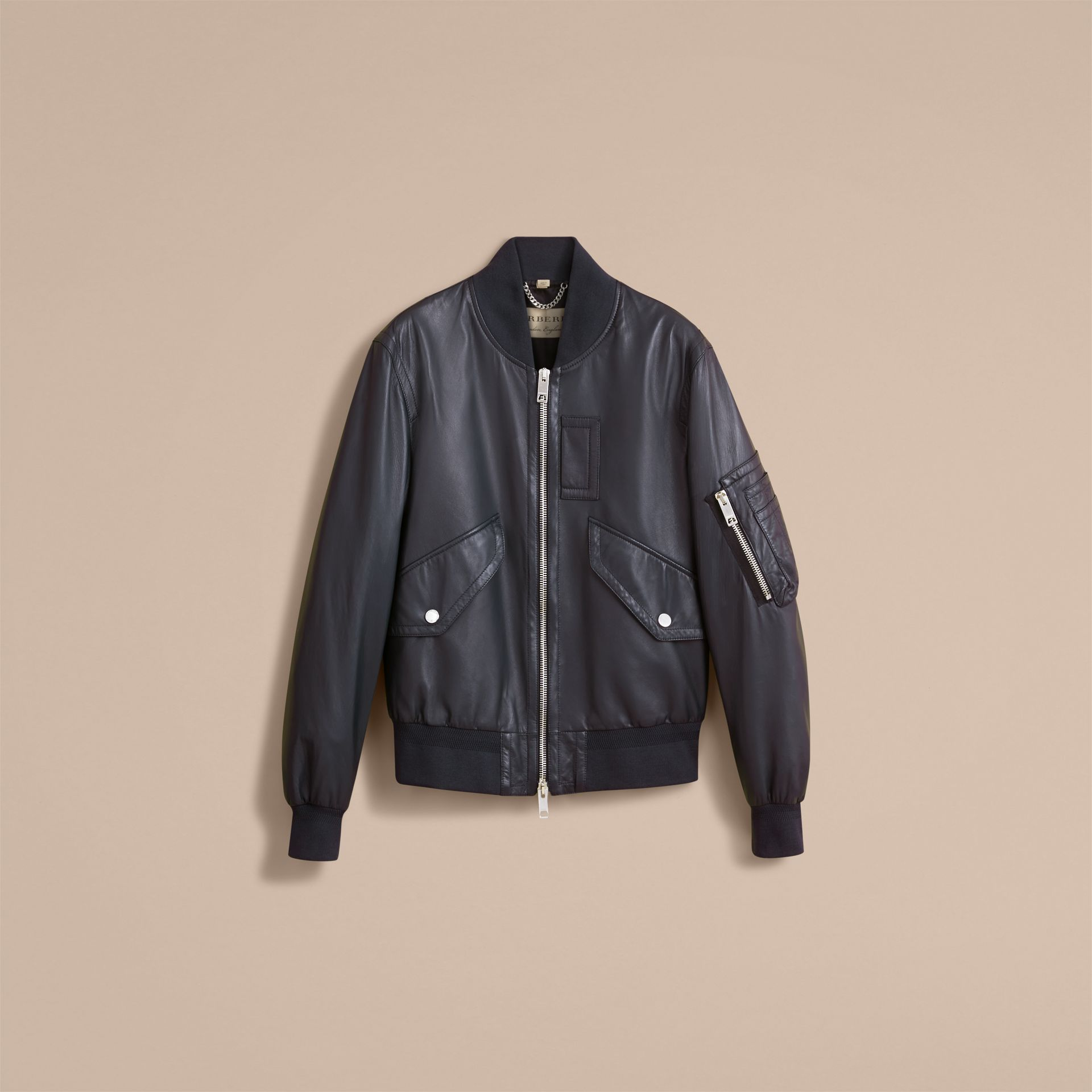 Lambskin Bomber Jacket in Navy - Men | Burberry - gallery image 4
