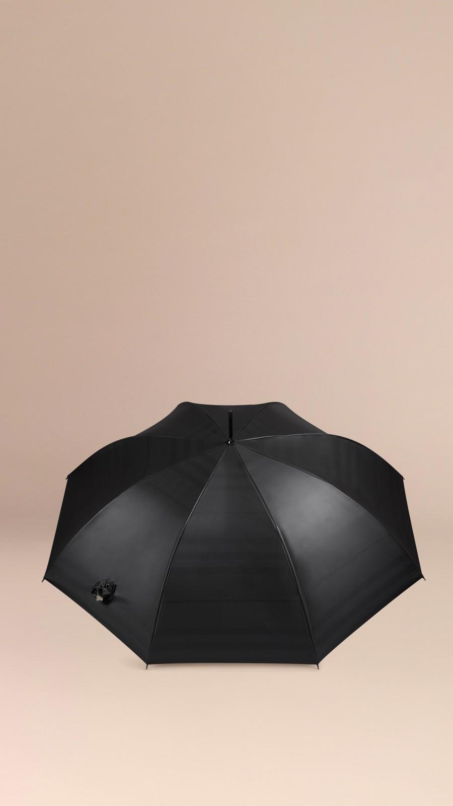 Black camel check Check-Lined Walking Umbrella Black Camel - Image 2