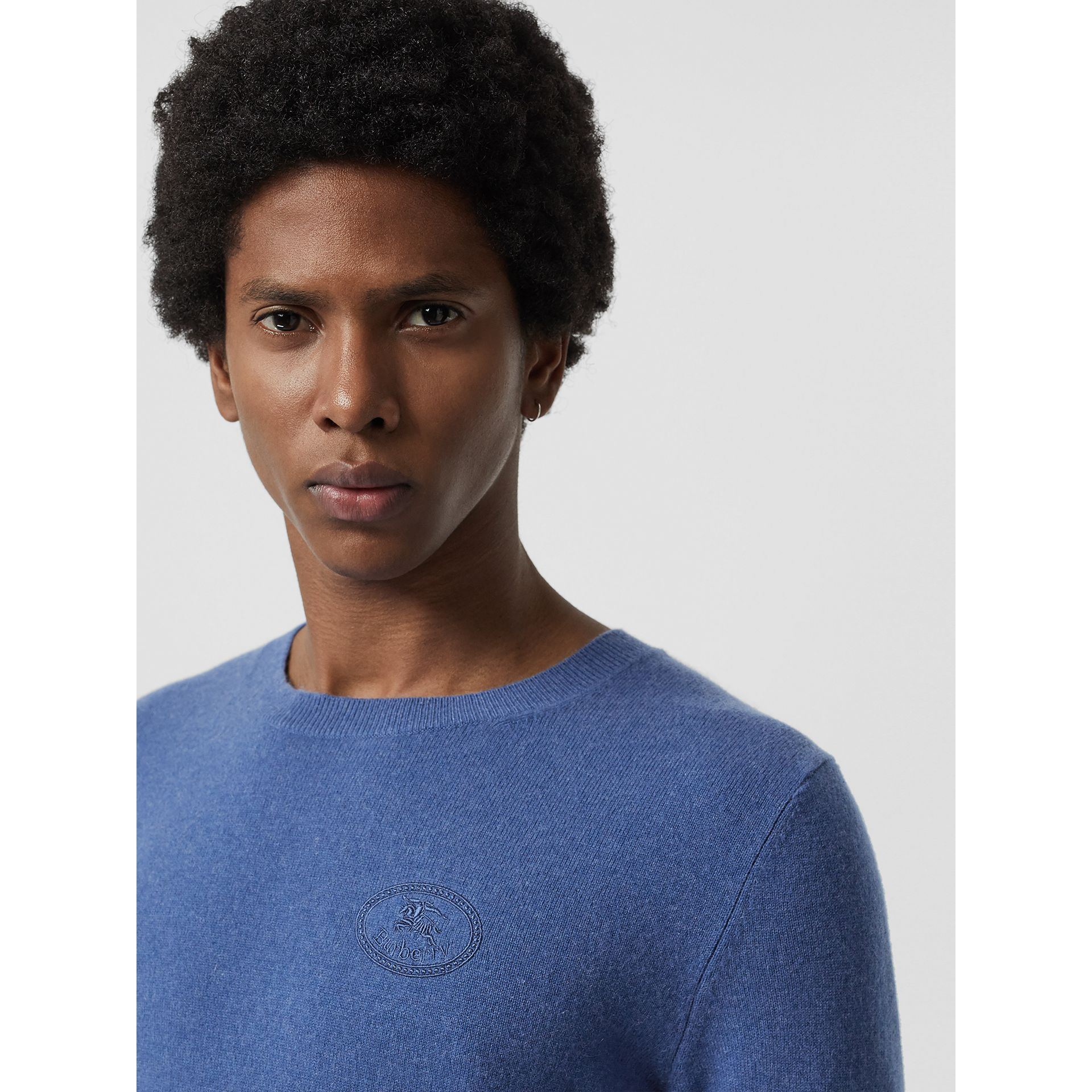 Embroidered Logo Cashmere Sweater in Dusty Blue - Men | Burberry - gallery image 1